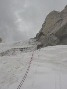 dave preparing for final rap out of goosneck couloir